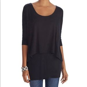 WHBM 3/4 Sleeve Overlay Tunic Top